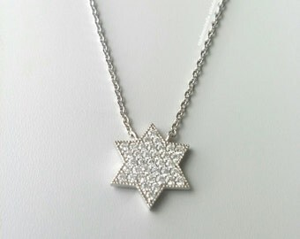 Silver necklace 925/000, star of David - Magen David with oxides of zirconium - Silver 925 - adjustable size - silver 925, Star of David