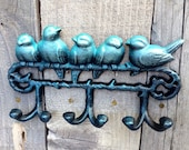 Shabby Chic Six Hook Cast Iron Bird Hook With Turquoise Pearlescent Signature Finish/ cast iron wall hook/ bird hook/ jewelry hook