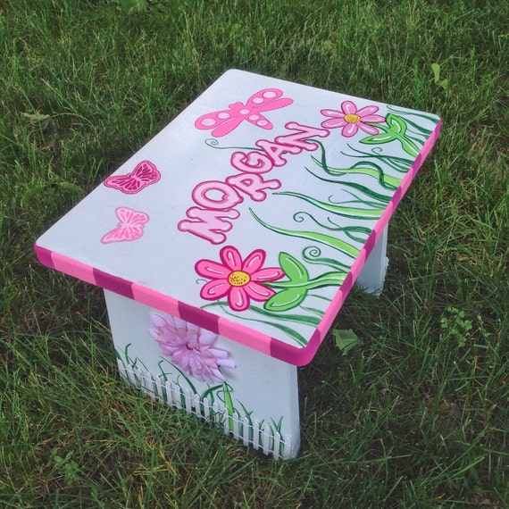 Toddler Wooden Step Stool Hand Painted Stool Nursery Decor