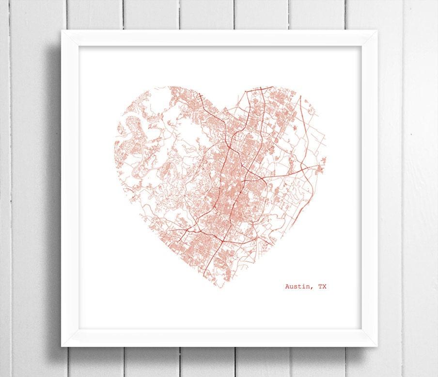 Austin Texas City Heart Map Map Art Wall Art Home Decor