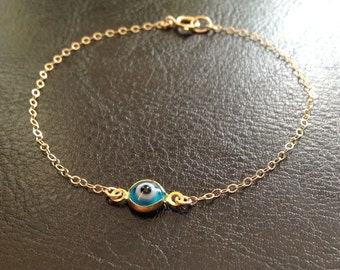 Sale!-Mini Evil Eye Bracelet-Gold Filled Chain-Dainty Bracelet-Layering Bracelet-Everyday Bracelet-Gift