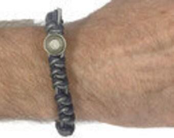 Handmade violet & gray shimmer men's Spanish Knot bracelet