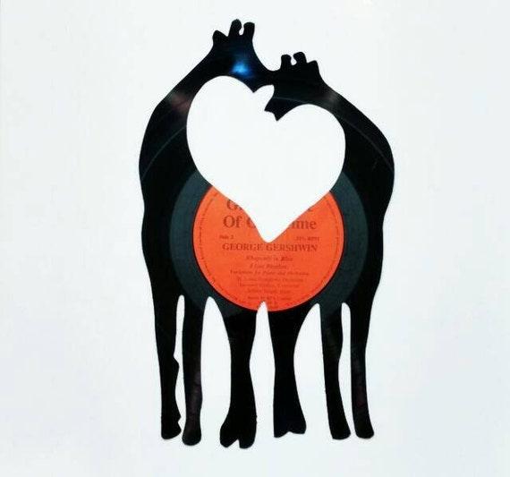 Aninimal Book: Giraffes making a heart love wall art. Handmade by ...