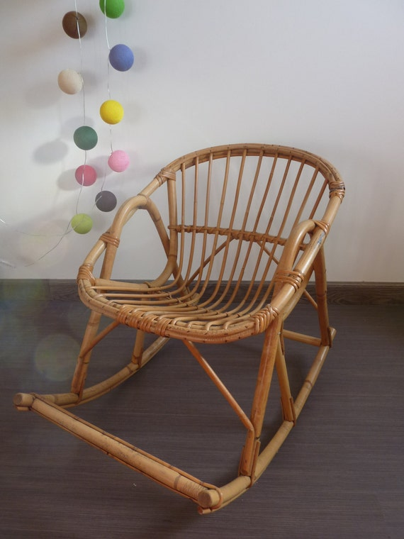 bamboo rattan rocking chair child 50s vintage by. Black Bedroom Furniture Sets. Home Design Ideas