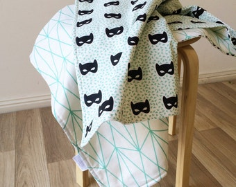 Mint and black masks / mint geo diamonds modern cot quilt. Reversible crib blanket. triangles. Geometric. Nursery blanket.