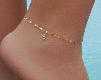 Starfish Anklet • Beach Anklet • Gold or Silver Anklet • Dolphin Whale Tail Sand Dollar Palm Tree Lotus Sea Turtle Anchor