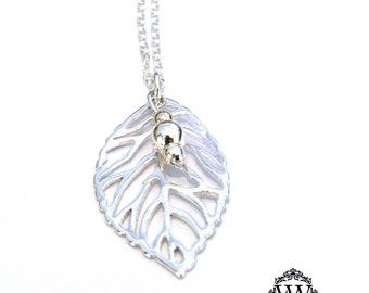 Filigree Silver Leaf Necklace