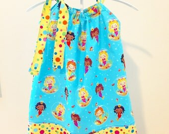Mermaids and Polka Dots Pillowcase Dress, Sizes 18 months to 5T