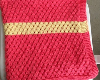 Baby Blanket - Orange with 2 Yellow Stripes. Hand Knit in Super-Soft Pima Cotton. Machine Wash and Dry. All Natural Fibers.