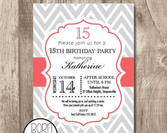Custom Printable Chevron Birthday Invitation