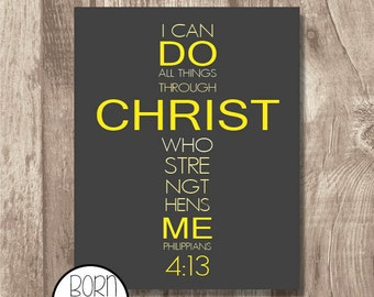 Printable Bible Verse Philippians 4:13 Yellow