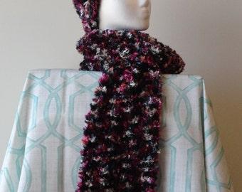 "Knit hat and scarf using Bernat Boa yarn ""Black Burgundy"" - 60"" long"