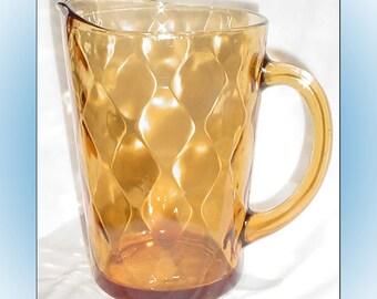 Vintage Amber Glass Ice Tea Pitcher Diamond Pattern