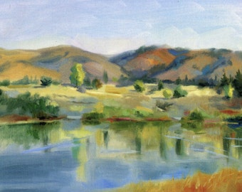 """Postcard """"Quarry Lakes"""" reproduction from original oil painting"""