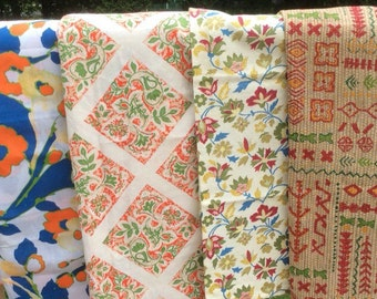 Sale!Vintage Fabric Lot Paisley Bold Graphic Retro Material Variety