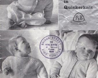 Vintage 1960s Knitting Pattern Three Baby Jumpers/Cardigans
