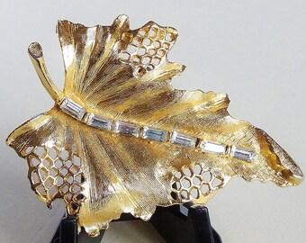 Vintage Brooch Pin Leaf Design Brushed Matt Gold Tone with Baguette Cut Ice Rhinestones Vein Open Work Void Lacy Design around Rim