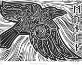 Munin / Memory, Norse Mythology Linocut