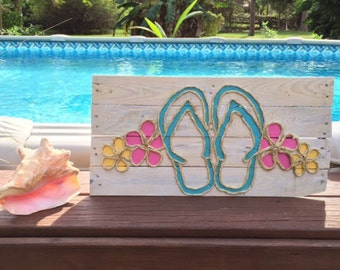 Handmade Flip Flops with Rope Beach Pallet Art Coastal Decor Flip Flop Art Rope Art