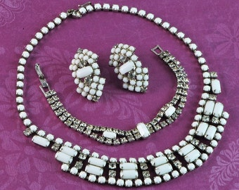 Vintage Milk Glass and Rhinestone Necklace, Bracelet and Earrings Set