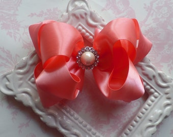 CORAL Satin hair bow pearl rhinestone flower girl clip 5 inch Pageant photo boutique loopy bow Cici's