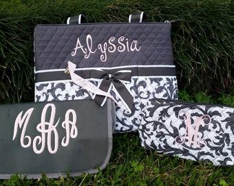custom Personalized grey damask baby diaper bag