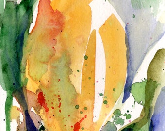 Fine Art Print of Abstract Yellow Tulip Watercolor Painting