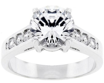 The Serendipity Ring | Serendipity Engagement Ring with 2 Carat Center Cubic Zirconia and Inlaid Cubic Zirconia Accents