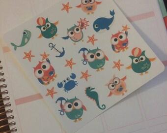 Nautical Owl Stickers! Perfect for your Erin Condren Life Planner, calendar, Paper Plum, Filofax!