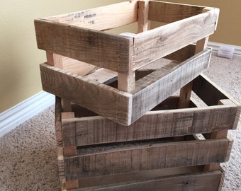 Rustic Wood Crates Pallet Wood Crates Reclaimed Pallet Wood