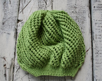 light green Beanie knit hat with matching scarf