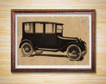 Old car poster Vintage print Antique decor