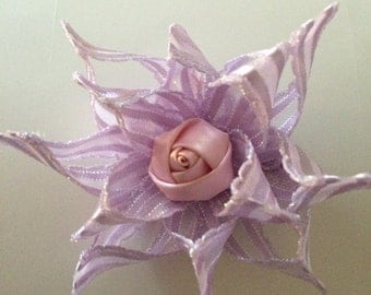 Purple flower Hair Bow