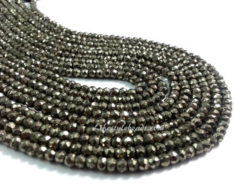 4mm , Natural Pyrite Beads  , 13.5 inches