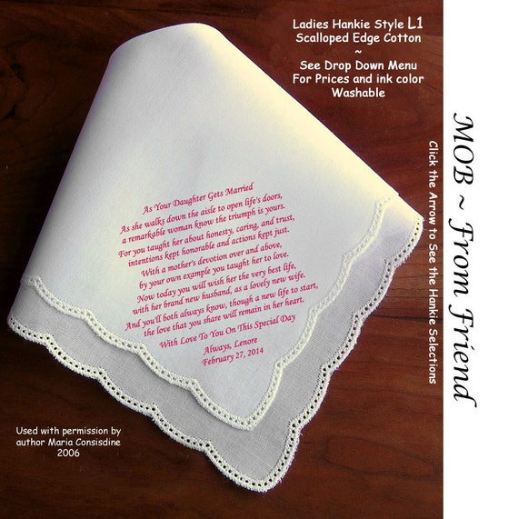 Mother Of The Bride Gifts: Mother Of The Bride Gift Wedding Hankie From A Friend Or Loved