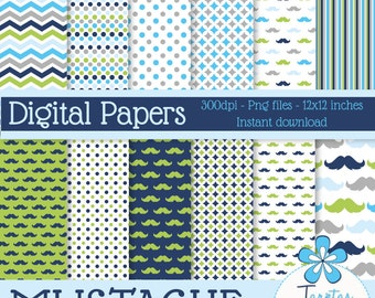 Papers digital to print blue and green Mustache boys - immediate download - PNG - Scrapbook