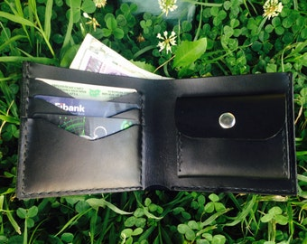 Handmade leather wallet, card holder - New - black, genuine cow leather