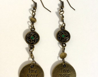 Antique Bronze and Teal Charm Earrings