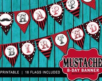 Mustache Birthday Banner - Pendant Birthday Banner - Mustache Pendant - Birthday Sign - Little Man Banner - INSTANT DOWNLOAD - Gentlemen