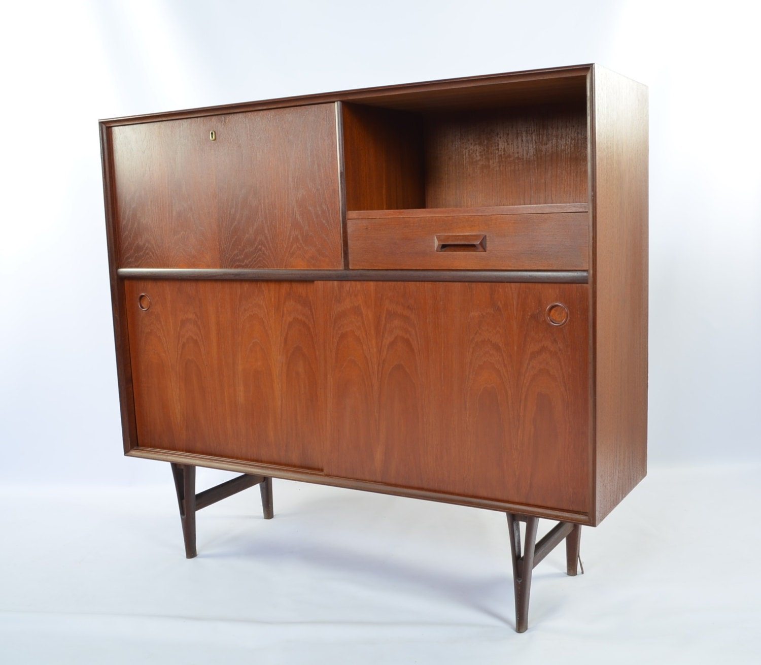 Danish modern drop front media console Modern media console