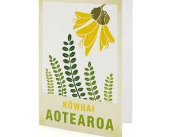 Kowhai illustration. A6 greeting card with envelope – New Zealand native flower series.