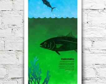 Makumaku illustration print – New Zealand native fish series. 2 sizes, limited series.