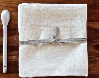 Linen Towels (10), Undyed linen tea towels, White linen towels, Bar towels, White kitchen towels, Eco friendly towels, Organic towels