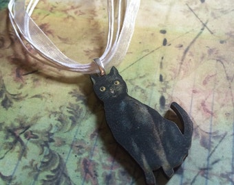 The Black Cat Pendant Necklace Goth