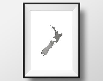 New Zealand Drawing Print