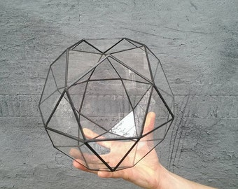 Large terrarium icosidodecahedron, Stained glass terrarium, Glass decoration, Planter for indoor gardening, Home decor
