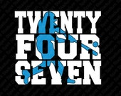 Baseball T-Shirt - 24/7 Baseball - Twenty Four Seven - You Choose Your Team or School Colors!  Custom Spirit Shirt