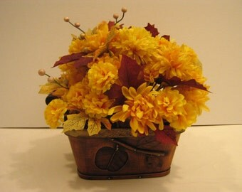 Silk Flower Arrangement - Gold Mums in Brown Basket with Metal Accents