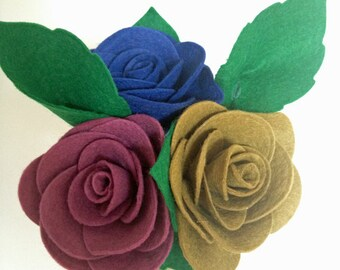3 Felt roses and Foliage - Various colours