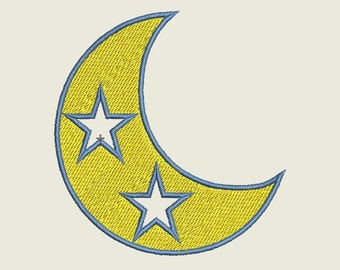 Moon Embroidery Design, Moon with Stars Embroidery Design,Crescent Embroidery Design, Machine Embroidery, Astrology Embroidery Design,Moon